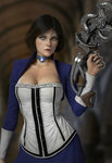 1girl artist_request bioshock bioshock_infinite blue_eyes breasts brown_hair bustier cleavage collar elizabeth_(bioshock_infinite) highres holding holding_weapon large_breasts open_mouth photorealistic realistic short_hair solo weapon wrist_cuffs