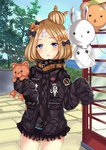 1girl abigail_williams_(fate/grand_order) balloon bangs black_bow black_jacket blonde_hair blue_eyes blue_sky blush bow cloud commentary_request day fate/grand_order fate_(series) hair_bow hair_bun hands_up head_tilt horizon jacket long_hair long_sleeves looking_at_viewer medjed object_hug ocean orange_bow outdoors parted_bangs parted_lips phone_booth polka_dot polka_dot_bow sky sleeves_past_fingers sleeves_past_wrists solo standing star stuffed_animal stuffed_toy teddy_bear tree water wu_ji_miao