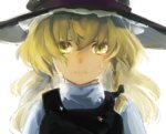 1girl blonde_hair braid crying crying_with_eyes_open frown hair_ribbon hat henpei_saboten kirisame_marisa long_hair looking_at_viewer ribbon sad solo star tears touhou upper_body white_background witch_hat yellow_eyes
