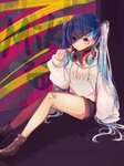 1girl artist_name bandage_on_face bandage_on_knee bandages bangs beige_hoodie beige_sweater black_shorts blue_hair brown_footwear candy clenched_hand collar commentary earpiece earrings food hair_ornament hairclip hand_on_ground hatsune_miku headphones headphones_around_neck highres holding_lollipop hood hooded_sweater hoodie jewelry lollipop long_hair looking_at_viewer mame_kuri multicolored multicolored_background purple_eyes serious shiny shiny_clothes shiny_hair shiny_skin shoes short_shorts shorts sitting solo sparkling_eyes sweater thighs twintails very_long_hair vocaloid