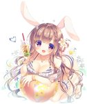 1girl :d animal_ears ball bare_shoulders beachball bikini blush bracelet braid breast_rest breasts brown_footwear brown_hair bunny_ears bunny_girl bunny_tail cleavage collarbone commentary cup disposable_cup drink drinking_straw fingernails flower full_body hair_flower hair_ornament hairclip heart high_heels holding holding_cup jewelry large_breasts long_hair open_mouth original puffy_short_sleeves puffy_sleeves purple_flower red_eyes sandals see-through see-through_sleeves short_sleeves side-tie_bikini smile solo star star_hair_ornament striped striped_bikini swimsuit symbol_commentary tail very_long_hair water_drop white_background white_flower yukie_(peach_candy)