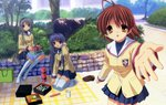 3girls absurdres antenna_hair bag blazer blue_skirt brown_eyes brown_hair clannad day detexted food fujibayashi_kyou furukawa_nagisa highres hikarizaka_private_high_school_uniform ikeda_kazumi jacket kneeling long_hair looking_at_viewer makizushi multiple_girls no_shoes official_art outdoors picnic pleated_skirt sakagami_tomoyo school_uniform shoes_removed sitting skirt smile sushi thighhighs third-party_edit tree very_long_hair white_legwear