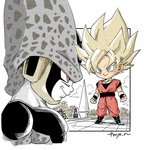 2boys arena arms_at_sides black_footwear blonde_hair boots cell_(dragon_ball) chibi clenched_hands cloud cloudy_sky commentary_request dougi dragon_ball dragon_ball_z evil_smile fenyon full_body grey_eyes legs_apart looking_away male_focus multiple_boys outdoors perfect_cell profile red_eyes rock shadow sky smile son_gokuu spiked_hair standing super_saiyan twitter_username upper_body wristband