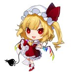 1girl :d ascot bangs blonde_hair blush bobby_socks chibi crystal daimaou_ruaeru eyebrows_visible_through_hair eyes_visible_through_hair fang flandre_scarlet frilled_shirt_collar frills full_body hat hat_ribbon high_heels highres laevatein long_hair looking_at_viewer mob_cap one_side_up open_mouth petticoat red_eyes red_footwear red_ribbon red_skirt red_vest ribbon short_sleeves skirt skirt_set smile socks solo touhou transparent_background vest white_headwear white_legwear wings yellow_neckwear