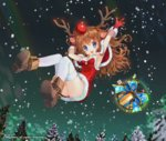 1girl animal_ears antlers armpits blue_eyes boots brown_hair capelet christmas dress gift gloves long_hair mintchoco_(orange_shabette) night red_nose smile snowing solo thighhighs tree wavy_hair