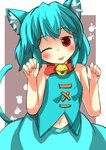 1girl ;p animal_ears aqua_hair bell bell_collar cat_ears cat_tail collar commentary_request gaoo_(frpjx283) highres kemonomimi_mode navel one_eye_closed paw_pose red_eyes tail tatara_kogasa tongue tongue_out touhou