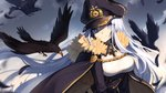 1girl animal bangs bird bison_cangshu black_cape black_feathers black_hat black_skirt blue_eyes blue_sky breasts cape chain character_request closed_mouth cloud collared_shirt commentary day feathers fur-trimmed_cape fur_trim hair_between_eyes hat head_tilt high-waist_skirt highres iron_cross long_hair long_sleeves medium_breasts military_hat outdoors peaked_cap shirt silver_hair skirt sky smile solo very_long_hair white_shirt zhan_jian_shao_nyu