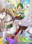 1girl :d armor bangs boots breastplate building clothesline commentary company_name confetti copyright_name day elbow_gloves feathers fire_emblem fire_emblem:_thracia_776 fire_emblem_cipher gloves green_eyes green_hair halberd holding holding_weapon horseback_riding karin_(fire_emblem) knee_boots looking_at_viewer matsurika_youko official_art open_mouth outdoors pegasus_knight polearm red_footwear red_gloves reins riding saddle shiny smile solo spear weapon wings