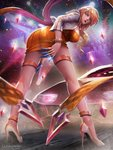 1girl ass bangle bangs blonde_hair blurry blurry_background bracelet breasts dress evelynn full_body glint gold high_heels highres jacket jewelry k/da_(league_of_legends) k/da_evelynn k/da_evelynn-prestige_edition kaze_no_gyouja league_of_legends leaning_forward light_particles long_hair looking_at_viewer necklace open_clothes open_jacket open_mouth orange_dress purple_hair red_lips short_dress sidelocks signature solo thighlet wavy_hair white_jacket wind wind_lift yellow_eyes