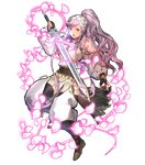 1girl akira_(kaned_fools) armor bangs belt black_gloves black_legwear boots braid breastplate brown_footwear detached_sleeves eyebrows_visible_through_hair fingerless_gloves fire_emblem fire_emblem:_kakusei fire_emblem_heroes full_body gloves hairband high_ponytail highres holding holding_sword holding_weapon knee_boots long_hair long_sleeves looking_at_viewer official_art olivia_(fire_emblem) open_mouth pelvic_curtain petals ponytail shoulder_armor solo striped sword transparent_background twin_braids weapon