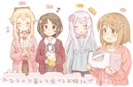 +++ 4girls 7010 :d ^_^ aihara_yukino blonde_hair box brown_eyes brown_hair character_age clarice_(idolmaster) closed_eyes commentary_request eve_santaclaus eyebrows_visible_through_hair hands_together idolmaster idolmaster_cinderella_girls long_hair mimura_kanako multiple_girls musical_note open_mouth short_hair silver_hair smile teapot translation_request