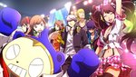 4boys 4girls amagi_yukiko bra breasts cleavage concert crowd everyone hanamura_yousuke hat headband headphones kujikawa_rise kuma_(persona_4) midriff multiple_boys multiple_girls narukami_yuu navel official_art open_collar persona persona_4 persona_4:_dancing_all_night satonaka_chie scan scarf shirogane_naoto skirt spotlight stadium stage suspenders sweatdrop tatsumi_kanji thighhighs twintails underwear