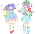 2girls :d backpack bag blue_footwear blue_hair blush boots buttons closed_eyes closed_mouth collared_shirt cosplay costume_switch eighth_note eyeball frilled_legwear frilled_shirt_collar frilled_skirt frilled_sleeves frills hair_bobbles hair_ornament hairband hands_up hat heart heart_of_string kawashiro_nitori kawashiro_nitori_(cosplay) key knee_boots komeiji_satori komeiji_satori_(cosplay) long_sleeves multiple_girls musical_note open_mouth pentagon pink_skirt pocket purple_hair red_eyes rubber_boots shirt simple_background skirt skirt_set slippers smile string sweatdrop third_eye touhou two_side_up white_background white_legwear wide_sleeves