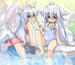 2girls :d animal_ears artist_request bare_shoulders barefoot bikini blue_eyes blue_hair blue_swimsuit blush commentary day eyebrows_visible_through_hair fang flower fox_ears fox_tail hair_flower hair_ornament long_hair multiple_girls one-piece_swimsuit open_mouth original outdoors pink_bikini sitting smile soaking_feet sweat swimsuit tail tongue tongue_out two_side_up water