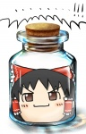 abe_ranzu bottle brown_eyes brown_hair cork glass hakurei_reimu head_in_jar jar no_humans touhou yukkuri_shiteitte_ne