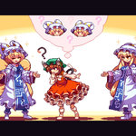 3girls ? animal_ears animated antinomy_of_common_flowers bangs blinking blonde_hair brown_eyes brown_hair cat_ears cat_tail chen closed_eyes commentary_request confused cosplay dress eyebrows_visible_through_hair fox_tail frilled_skirt frills green_hat hat jewelry jumping letterboxed migel_futoshi mob_cap multiple_girls multiple_tails ofuda pillow_hat red_skirt single_earring skirt smile socks sparkle standing tabard tail thought_bubble touhou two_tails ugoira white_dress white_hat white_legwear yakumo_ran yakumo_ran_(cosplay) yakumo_yukari