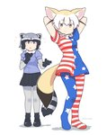 2girls :o american_flag_dress american_flag_legwear animal_ear_fluff animal_ears arms_behind_back arms_up artist_name bangs black_footwear black_hair black_neckwear black_skirt blonde_hair bow bowtie brown_eyes clownpiece clownpiece_(cosplay) commentary commission common_raccoon_(kemono_friends) cosplay dress elbow_gloves english_commentary extra_ears eyebrows_visible_through_hair fennec_(kemono_friends) flying_sweatdrops fox_ears fox_tail full_body fur_collar gloves grey_hair hair_between_eyes highres kemono_friends looking_at_viewer multicolored_hair multiple_girls pantyhose puffy_short_sleeves puffy_sleeves raccoon_ears raccoon_tail shoes short_hair short_sleeves simple_background skirt smile standing striped_tail tail touhou twitter_username two-tone_hair vibrantrida white_background white_hair