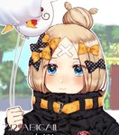 1girl abigail_williams_(fate/grand_order) absurdres artist_request bangs belt black_bow blue_eyes blurry blurry_background blush bow character_name commentary_request dated fate/grand_order fate_(series) hair_bow hair_bun highres holding holding_balloon looking_at_viewer multiple_hair_bows orange_bow parted_bangs polka_dot polka_dot_bow smile solo yellow_belt