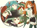5girls bandages belt bow bowtie collarbone fringe garter_straps green_eyes green_hair hair_ornament hat hatsune_miku helmet looking_at_viewer mask mini_hat mini_top_hat mrs.pumpkin_no_kokkei_na_yume_(vocaloid) multicolored_hair multiple_girls open_mouth orange_eyes pink_eyes project_diva_(series) project_diva_x puffy_short_sleeves puffy_sleeves short_sleeves shorts simple_background smile striped striped_legwear tanaka_miz thighhighs top_hat twintails vocaloid