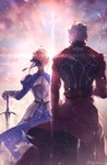 1boy 1girl ahoge archer armor armored_dress artoria_pendragon_(all) back black_pants blonde_hair caliburn commentary facing_away fate/stay_night fate_(series) from_behind gloves h_sueun highres holding holding_sword holding_weapon jacket light pants red_jacket saber short_hair sunlight sunrise sword weapon white_hair