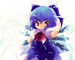 1girl blue_eyes blue_hair bow cirno clenched_hand fighting_stance hair_bow highres open_mouth solo touhou uneven_eyes wings yume_shokunin