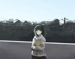 1girl bad_id bad_pixiv_id black_eyes black_hair cityscape day earrings hanno hood hood_down hoodie jewelry looking_at_viewer original outdoors power_lines short_hair sky solo standing stuffed_animal stuffed_toy teddy_bear telephone_pole wind