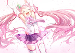 1girl armpits arms_up bad_id cherry closed_eyes detached_sleeves food fruit hatsune_miku long_hair necktie open_mouth petals pink_hair sakura_miku skirt solo thighhighs twintails ume_(plumblossom) very_long_hair vocaloid