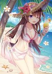 1girl ;d bangle bare_arms bare_shoulders beach bikini blush bracelet breasts brown_hair brown_headwear cleavage cloud collarbone cup day drinking_glass drinking_straw flower front-tie_bikini front-tie_top hat hat_flower hitsuki_rei holding jewelry large_breasts long_hair looking_at_viewer navel necklace ocean one_eye_closed open_mouth outdoors palm_tree purple_eyes red_flower sarong sidelocks smile snowdreams_-lost_in_winter- solo standing starfish straw_hat sunlight swimsuit thighs tree tropical_drink very_long_hair white_bikini white_flower