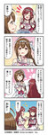 3girls 4koma ahoge bare_shoulders black_choker bow braid brown_eyes brown_hair choker comic commentary copyright dress eyebrows_visible_through_hair flower_ornament frills hair_between_eyes hair_bow hair_ornament hair_ribbon headband highres idol_clothes idolmaster idolmaster_shiny_colors kuwayama_chiyuki logo long_hair looking_at_another multiple_girls official_art oosaki_amana oosaki_tenka open_mouth pink_bow red_hair ribbon smile translated white_bow white_dress wing_ornament wrist_cuffs wrist_ribbon yellow_eyes