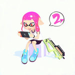 1girl bike_shorts blush_stickers camisole domino_mask full_body gun handheld_game_console holding ilya_kuvshinov inkling mask nintendo_switch open_mouth pink_hair playing_games pointy_ears red_eyes short_hair shorts simple_background sitting sleeveless solo splatoon splatoon_2 squid tentacle_hair weapon
