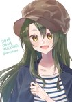 1girl alternate_costume alternate_hairstyle beret blazer blue_jacket brown_headwear character_name commentary_request dated green_eyes grey_hair hair_down hat jacket kantai_collection long_hair open_mouth shirt simple_background smile solo striped striped_shirt twitter_username u_yuz_xx upper_body white_background zuikaku_(kantai_collection)
