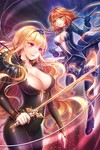 2girls black_legwear blonde_hair breasts hairband hobak large_breasts linia_pacifica long_hair lowres multiple_girls orange_hair red_eyes skin_tight sword sword_girls thighhighs weapon