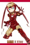 1girl aqua_eyes armor blush bottle character_name crossover dr_pepper dr_pepper-tan green_eyes iron_man marvel mask miyao_ryuu outstretched_hand product_girl product_placement red_hair solo source_request twintails