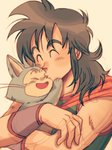 1boy >_< black_hair close-up closed_eyes dragon_ball dragon_ball_(classic) eyebrows_visible_through_hair forehead_kiss happy highres kiss long_hair male_focus neckerchief open_mouth orange_neckwear pink_background puar simple_background smile upper_body yamcha