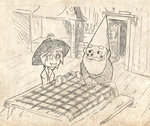 1boy 1girl beard blush_stickers bowl bowl_hat crossover david_the_gnome facial_hair gnome hat monochrome mustache setz sitting sketch sukuna_shinmyoumaru table tablecloth the_world_of_david_the_gnome touhou
