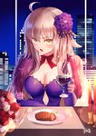 1girl ahoge bangs bow breasts brown_eyes building burning candle cityscape cleavage commentary_request cup dress drinking_glass elbow_gloves eyebrows_visible_through_hair fate/grand_order fate_(series) fire flower food fork fur_collar gloves gogatsu_fukuin hair_between_eyes hair_flower hair_ornament highres holding holding_cup indoors jeanne_d'arc_(alter)_(fate) jeanne_d'arc_(fate)_(all) knife large_breasts light_brown_hair long_hair looking_at_viewer meat night night_sky open_mouth plate purple_dress purple_flower purple_gloves red_bow red_flower red_rose rose signature sky skyscraper solo strapless strapless_dress upper_body very_long_hair white_flower white_rose wine_glass