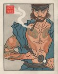 1boy arm_tattoo chest_tattoo fine_art_parody full_body_tattoo japanese_clothes jed_henry katana male_focus metal_gear_(series) metal_gear_solid nihonga parody sheath smoking snake_tattoo solid_snake solo sword tattoo traditional_media ukiyo-e unsheathing weapon