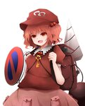 1girl arano_oki backpack bag blush cosplay dress drill hair_bobbles hair_ornament hat kawashiro_mitori kawashiro_nitori kawashiro_nitori_(cosplay) key open_mouth pocket puffy_short_sleeves puffy_sleeves red_eyes red_hair road_sign shirt short_hair short_sleeves sign simple_background skirt skirt_set smile solo touhou two_side_up white_background
