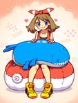 1girl :> blue_eyes blush brown_hair character_doll hair_ribbon haruka_(pokemon) haruka_(pokemon)_(remake) heart ichiharune pillow poke_ball pokemon pokemon_(creature) pokemon_(game) pokemon_oras ribbon shirt shoes short_hair simple_background sleeveless smile sneakers solo stuffed_animal stuffed_toy wailord
