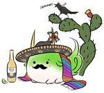alcohol beer blush bottle bow cactus commentary corona_(brand) ex-keine facial_hair hat horn_bow horns kamishirasawa_keine kamishirasawa_keine_(hakutaku) lime mefomefo mexican mustache no_humans product_placement pun scarf shameimaru_aya shameimaru_aya_(crow) simple_background solid_circle_eyes solo sombrero sukusuku_hakutaku tail tokin_hat touhou