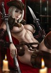 1girl absurdres bloodborne blue_eyes blurry_foreground breasts candle chair dandon_fuga detached_sleeves hat highres knife lady_maria_of_the_astral_clocktower large_breasts lips looking_at_viewer navel paid_reward patreon_reward silver_hair sitting the_old_hunters toned weapon