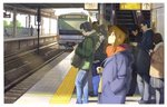bag breath brown_hair cellphone coat cold commentary_request crowd day denim earbuds earphones from_side ground_vehicle hand_in_pocket headphones highres holding holding_phone jeans looking_up multiple_boys multiple_girls original pants phone railroad_tracks scarf sidelocks skirt standing tokoya_(b4ahdfsf42ljwic) train train_station train_station_platform winter_clothes winter_coat