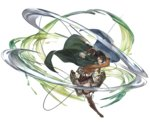 1girl action attack bangs black_eyes black_hair brown_eyes brown_jacket cape dress_shirt emblem full_body granblue_fantasy green_cape hair_between_eyes holding holding_sword holding_weapon jacket looking_at_viewer mikasa_ackerman military military_uniform minaba_hideo official_art one_leg_raised open_clothes open_jacket open_mouth pants paradis_military_uniform red_scarf scarf shingeki_no_kyojin shirt short_hair solo survey_corps_(emblem) sword three-dimensional_maneuver_gear transparent_background uniform weapon white_pants white_shirt
