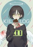 1boy arm_at_side arm_up bangs black_shirt blood bloody_wings chocolate_bar commentary english_commentary feathered_wings green_eyes halo highres kirudai long_bangs long_sleeves looking_at_viewer male_focus original shirt short_hair solo spread_wings white_wings wings