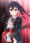 1girl absurdres black_hair blazer blush bottle brown_eyes commentary_request curtains guitar highres instrument jacket k-on! long_hair mousou_(mousou_temporary) nakano_azusa open_mouth sakuragaoka_high_school_uniform school_uniform solo sweat twintails water water_bottle