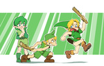 1girl 2boys angry belt blonde_hair blue_eyes blush boots briefs chasing child club covering_mouth dress fighting fleeing giggling green_eyes green_footwear green_hair grin hairband hand_over_own_mouth hat holding kokiri left-handed link mido multiple_boys pointy_ears saria short_hair skirt skirt_lift smile stick the_legend_of_zelda the_legend_of_zelda:_ocarina_of_time underwear upskirt usikani weapon white_briefs young_link
