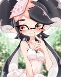 +_+ 1girl aori_(splatoon) black_bra black_hair blurry blurry_background blush bra bra_strap brown_eyes closed_mouth commentary depth_of_field domino_mask dress earrings food food_on_head highres jewelry long_hair looking_at_viewer mask mole mole_under_eye navel object_on_head pointing pointing_at_self pointy_ears see-through smile solo spaghetti_strap splatoon_(series) sukeo_(nunswa08) sushi tentacle_hair underwear upper_body very_long_hair white_dress