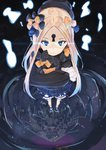1girl abigail_williams_(fate/grand_order) bangs black_bow black_dress black_headwear blonde_hair bloomers blue_eyes bow closed_mouth commentary_request dress fate/grand_order fate_(series) forehead glowing glowing_eyes hair_bow highres holding holding_stuffed_animal keyhole long_hair long_sleeves looking_at_viewer object_hug orange_bow parted_bangs perspective polka_dot polka_dot_bow reflection ripples solo stuffed_animal stuffed_toy tapioka_(oekakitapioka) teddy_bear underwear water white_bloomers
