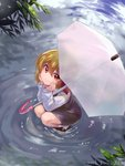 1girl araki_(qbthgry) black_footwear black_skirt black_vest blonde_hair commentary_request dated elbows_on_knees from_above hair_between_eyes hair_ribbon head_in_hand in_water long_sleeves looking_at_viewer looking_up red_eyes ribbon ripples rumia shirt short_hair signature skirt sleeve_cuffs smile solo squatting touhou transparent transparent_umbrella tree_branch umbrella vest white_legwear white_shirt
