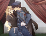 1boy 1girl black_hair blonde_hair bound_wrists fullmetal_alchemist hat long_hair military military_uniform riza_hawkeye roy_mustang takafuji_yuna uniform